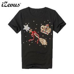 Quality Graphic Tees Australia - Izevus 2018 Summer High Quality T-shirt Women Slim Diamonds Print T-shirt Graphic Tee Shirt Femme Short Sleeve Women Top J190511