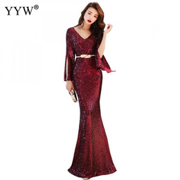 celebrities lace maxi dress 2019 - 2019 Gold Red Green Sequined Maxi Evening Dress Women V Neck Cloka Sleeves Club Vestidos Celebrity Elegant Party Mermaid