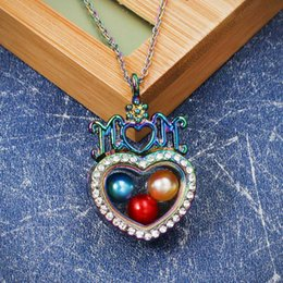 $enCountryForm.capitalKeyWord Australia - Floating Living Memory Heart Love Mom Pendant Magnetic Glass Locket Pearl Cage Charms Pendant Stainless Necklace Gift for Mother
