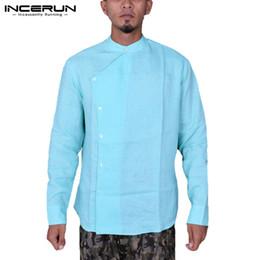 f3a10579ea7b5 INCERUN Vintage Men Shirt Long Sleeve Cotton Button Ethnic Style Casual Shirt  Men 2019 Camisa Tops Indian Kurta Suit Plus Size