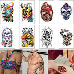 art arm Australia - Waterproof Temporary Tattoo Body Art Sticker Skull Skeleton Sickle Flower Arm Decal for Woman Man Transfer Paper Tattoo Makeup Beginner Tool