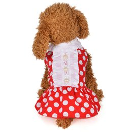 small puppies dresses bows 2020 - 2018 Summer Round Dot Bow Red Pink Style Chihuahua Dogs Skirt Cat Chihuahua Teddy Female Pet Puppy Dress Small Dog Cloth