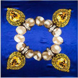 (90cm * 90cm) New Blue sciarpa quadrata Per la signora Piccola Sciarpe Raso di Seta fiori / piante / Colori pittura / Sciarpe di buona qualità
