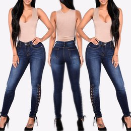 girls rip jeans size Canada - 2019 Autumn Hot Sale High Street Casual Cotton Women Pencil Pants Skinny High-Waist Plain Pocket Girls Plus Size Female Jeans