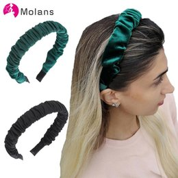 wholesale fabric hairbands UK - Molans Solid Color Ruched Headbands Wrapped Pleated Non-slip Girl's Hairbands For Women Elegant Solid Fabric Novelty Headbands