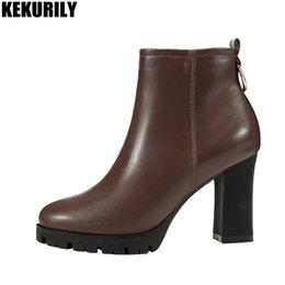 Black Ankle Booties For Women NZ - Platform Ankle Boots for Women Zip Chunky heel Plush Warm Winter Boot Shoes Casual ladies Heels booties black brown apricot
