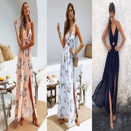 Hot Sexy White Dresses Australia - Hot sale printed floral dresses summer v-neck sling skirt chiffon floral sexy beach dress top quality