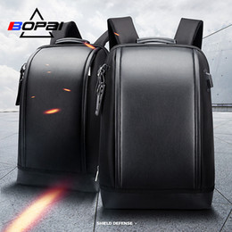 coolest backpacks NZ - Bopai Shell Shape Business Men's Office Work Backpack Usb Charge Cool Male Leather Daypack Backpack Men's Shoulder Bags For Work Y19061204