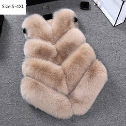plus size faux fox vest Australia - Plus Size S~4XL Women Autumn Winter Faux Fox Fur Vest Warm Female Waistcoats Hot Sale Casual Female Sleeveless Fur Jacket Coats