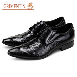 Italian Formal Shoes Australia - GRIMENTIN Hot sale Italian new formal mens dress shoes fashion oxford shoes genuine leather crocodile print business wedding mens shoes AST