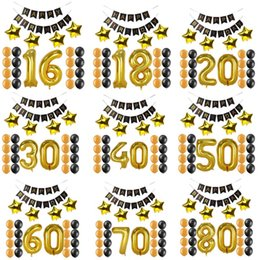 Birthday Banners kids online shopping - 1 years old happy Birthday Paper Banner Number balloons kid Adult Birthday Party Decoration favor