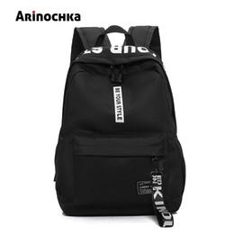 $enCountryForm.capitalKeyWord NZ - Female Fashion Junior High School Backpack Letters Print School Bags For Girls Black Backpack Teenagers Canvas Schoolbag Mochila J190627