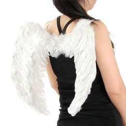Wholesale black red white costume for sale - Group buy 60cmx45cm Feather Angel Wings Elegant Halloween Costumes Party Supplies White Black Red Colors Perfect For Christmas Venetian Masquerade
