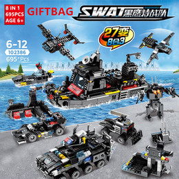 $enCountryForm.capitalKeyWord NZ - 695pcs City Swat Police Truck Building Blocks Sets Ship Helicopter Vehicle Creator Diy Bricks Educational Toys For Children MX190731