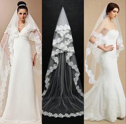 Long Church Veils Australia - Cheapest Long Bridal Veil Wedding Accessories White Ivory Lace Applique Edge Church Wedding Veils 2019 New
