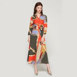 tie maxi dress Australia - Women Elegant Patchwork Print Maxi Dress Bow Tie Sashes Long Sleeve Pleated Female Office Wear Long Dresses Vestidos Qa483