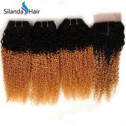 $enCountryForm.capitalKeyWord Australia - Silanda Hair Ombre 3 Color #T 1B 27 Jerry Curly Brazilian Human Hair Weaves 3 Weaving Bundles With 4x4 Lace Closure Free Shipping