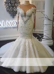 Crystal Bodice Trumpet Wedding Dress Canada - 2019 Real Photos Sexy Jewel Neck Mermaid Wedding Dresses Sweep Train Crystals Long Sleeves Illusion Bodice Bridal Gowns Custom Made