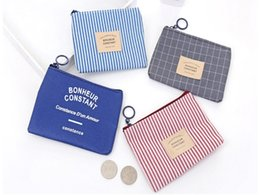 Coin bag korean online shopping - 4 styles Korean fashion coin purse ladies key plaid stripe bag creative mini cartoon canvas bags