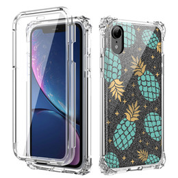 Discount clear heavy duty plastic - For Iphone Xr Case Luxury Clear Glitter Heavy Duty Shockproof Protective Case Cover without Screen Protection for iPhone