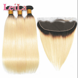 Russian blonde haiR bundles online shopping - 1B Ombre Blonde Bundles With Frontal Brazilian Remy Hair Straight Wave Bundles With Frontal Russian Blonde Hair Peruvian Extensions