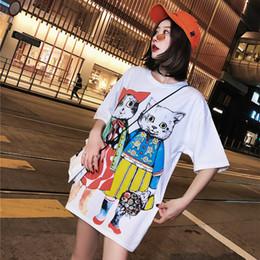Primavera e Verão 2019 New Cat Fashion Tide Estudante Solto Dos Desenhos Animados Versão Coreana Baitao Médio e Longo T em Promoção