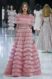 $enCountryForm.capitalKeyWord Australia - Evening dress A-Line Short Sleeve Jewel Light Pink Tulle Cascading Ruffles Classic Customizable in any size Modern 1 Customizable