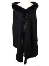 $enCountryForm.capitalKeyWord UK - Winter Black Chinese Women's 100% Wool Pashmina Thick Warm Long Stole Shawls Scarves Rabbit Fur Cape Tippet 176 x 68cm PM009