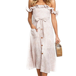 cotton night dress for ladies Australia - Pop Women Lady Off Shoulder Ruffle Backless Dress Fashion For Summer Party Holiday Cgu 88