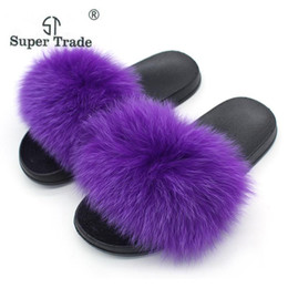 hair mint Australia - Summer Ladies Fox Fur Slippers Women Fox Hair Flip Flops Femme Open Toe Flat Slippers Casual Colorful Slides Plus Size 36-45