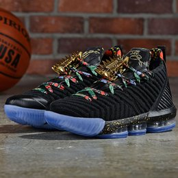 watches roses NZ - New lebron 16 Watch The Throne Men Basketball Shoes Black Metallic Gold-Rose Frost James 16 KC Gold Lacelocks Athletic Sports Trainer -70