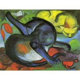 $enCountryForm.capitalKeyWord Australia - Art Gift Franz Marc abstract oil paintings Two Cats Blue and Yellow hand-painted wall decor