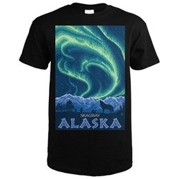 cheap lights for sales NZ - New Summer Style Northern Lights Skagway Alaska O-Neck Short Sleeve Office Mens Tee Cheap Sale 100 % Cotton T Shirts For Boys