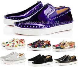 Cheap Flats Shoes Women Australia - Cheap Designer Red Bottom Sneakers Casual Shoes Men Womens Silver Lows Spikes Flats Loafers Pik Boat Genuine Leather Luxury Man Woman Shoe y