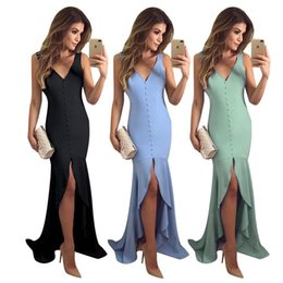 Wholesale Women s Deep V neck Fitted Split Asymmetrical Mermaid Party Dress Long Solid Color Evening Dresses with Button Front Sexy Hi lo Maxi Gown