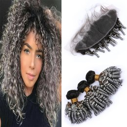 gray curly weave 2019 - 2 Tone 1B Grey Ombre Funmi Hair Frontal and Bundles Black and Gray Ombre Romance Spiral Curly Virgin Human Hair Weaves w