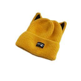 34fda270dba Cute Cat Ears Plus Velvet Thick Warm Student Knit Cap Pompoms Skullies Winter  Hats for Women Beanies for Women Wool Adult