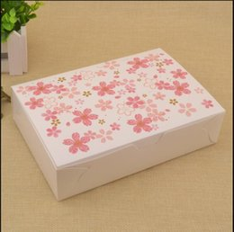 Cherry ChoColate online shopping - 10pcs Pink cherry blossom gift box Cardboard Packaging Box For Cookie Candy Chocolate Biscuits Cake Home Party Boxes