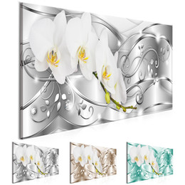 Metal Orchid Australia - 1 Panel Large HD Printed Canvas Print Painting Abstract Metal Diamond Orchid Flower Home Decoration Wall Pictures for Living Room Wall Art o