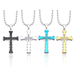 $enCountryForm.capitalKeyWord Australia - Punk Cross Shape Necklace For Men Gothic Crystal Pendant Necklaces Long Chain Silver Gold 4 Color Male Jewelry Collar 2019