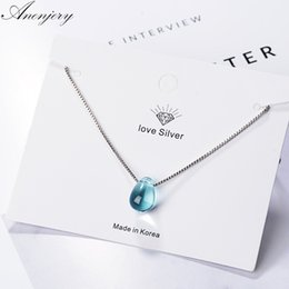 artificial chains wholesalers NZ - Anenjery Literary Artificial Blue Crystal Water Drop Necklace 925 Sterling Silver Clavicle Chain Necklace For Women Girl S-N292