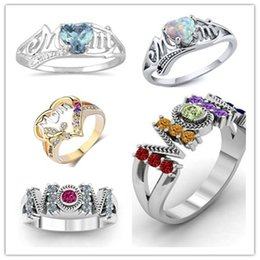 Gold Finger Ring Tone Australia - New Silver Gold Tone CZ Crystal Mom Ring For Mother's Day Gifts Colorfl CZ Zircon Rings Fashon Opal Heart Finger Ring SJ