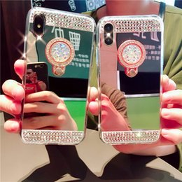 Wholesale X XSMAX XR plus Cell Phone Cases Rhinestone Mirror with Ring Mobile Protect Cover Fashion Rose Gold Sliver Cellphone Shell