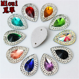 Sew Teardrop Crystal Australia - 100pcs 13*18mm AB Color Drop Resin Crystal Resin Rhinestones Beads Flat back Sewing Buttons Sew On 2 hole ZZ36