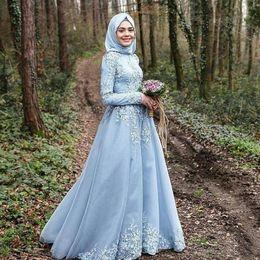 $enCountryForm.capitalKeyWord Australia - 2020 vestido branco Dark Blue Long Sleeves Muslim A-Line Evening Dresses robe de soiree courte Hijab Turkish Evening Gowns Lace Custom Made