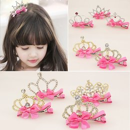 $enCountryForm.capitalKeyWord Australia - New Arrival Baby Girls Children Shiny Crown Rhinestone Hairpins Princess Ribbon Crystal Hair Clip Pearl Barrette Accessories