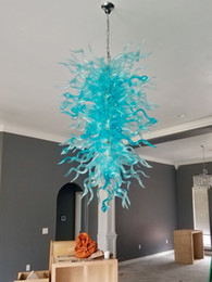 Turquoise Glasses Australia - Turquoise Chandelier Lights Hand Blown Glass Large Chandelier Luxury Living Room Lights LED Long Chain Pendant Lamps for Christmas Decor
