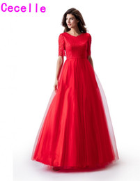 $enCountryForm.capitalKeyWord Australia - Red Lace Top Tulle Skirt A-line Long Modest Prom Dress With 1 2 Sleeves V Neck Floor Length Simple Teens Modest Party Dress