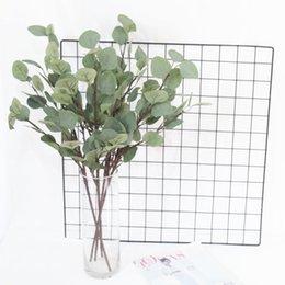 Großhandel Künstliche Eukalyptus stammt Seide Blätter gefälschte Pflanze Faux Greenery für Garland Kranz Handwerk Home Decor Herzstück
