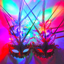 silk party mask NZ - Luminous butterfly rain silk mask led with lamp flash light brazing mask children's toy wholesale party costume props
